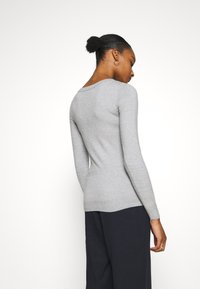 Anna Field - BASIC OPEN NECK JUMPER - Strickpullover - mottled light grey - 2