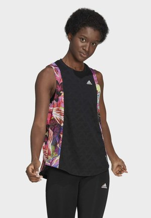 OWN THE RUN FLORAL TANK TOP - Top - black