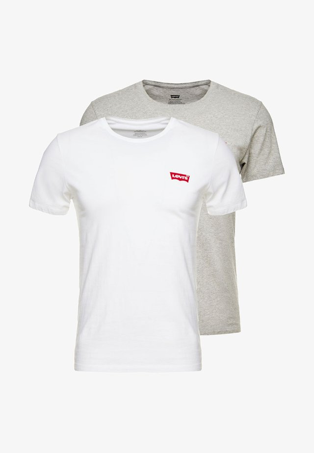 CREWNECK GRAPHIC 2 PACK - T-shirt print - white/mid tone grey heather