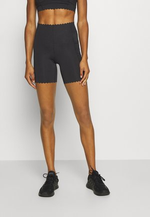 SCALLOP HEM BIKE - Tights - black