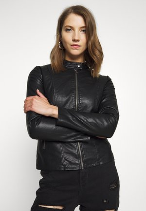 ONLMELISA FAUX JACKET - Faux leather jacket - black