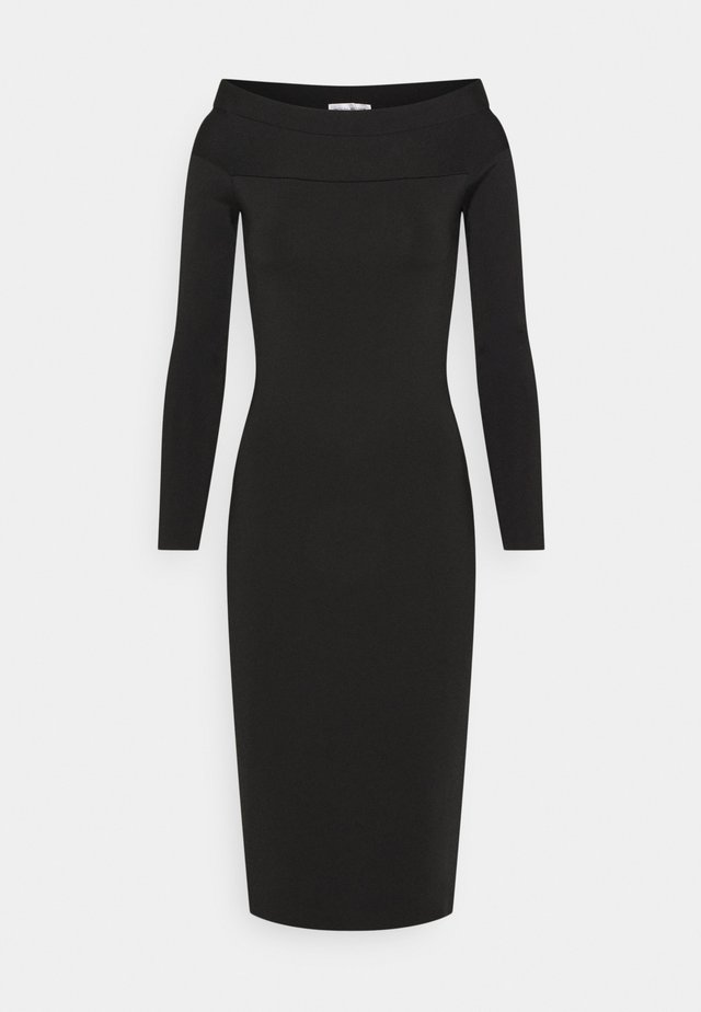 COMPACT SHINE BARDOT FITTED DRESS - Tubino - black