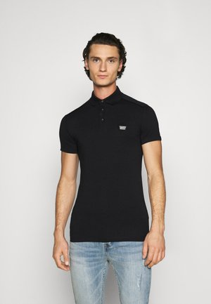PLATE ON FRONT - Polo shirt - black