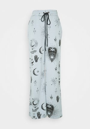 ALL OVER PRINT WIDE LEG - Tracksuit bottoms - dusky blue