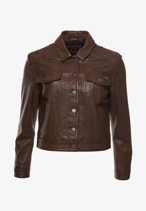 STATESIDE TRUCKER - Leather jacket - tan