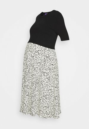 2 IN 1 POLLYANNA DRESS WITH PRINTED SKIRT - Vapaa-ajan mekko - black/ecru