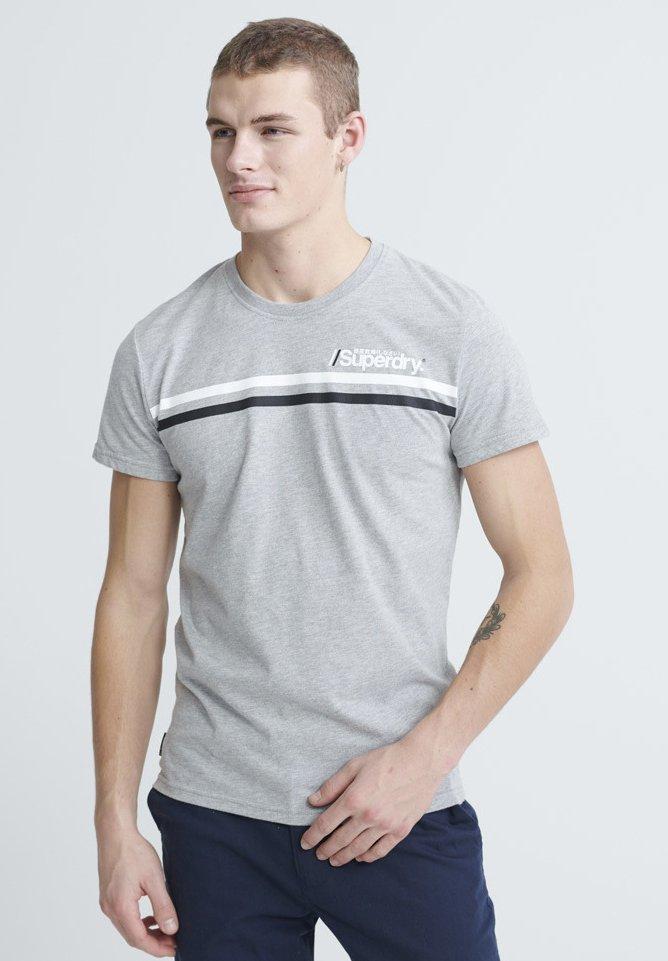 Herren CORE LOGO SPORT STRIPE TEE - T-Shirt print - grey