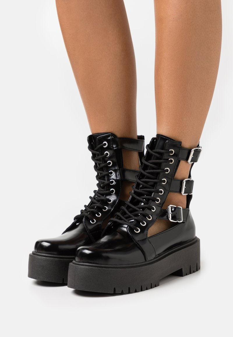 Topshop - BABE CUT OUT BUCKLE BOOT - Lace-up ankle boots - black