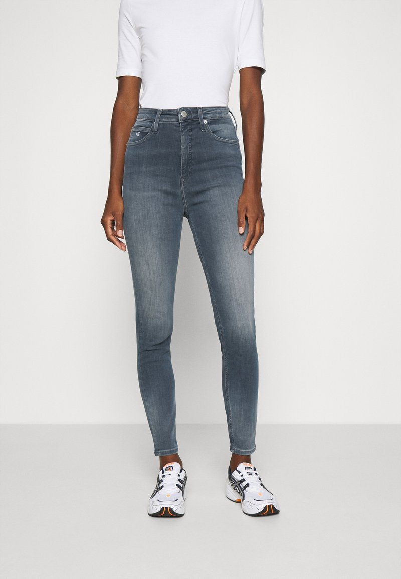 Calvin Klein Jeans - HIGH RISE SUPER SKINNY ANKLE - Jeans Skinny - blue grey