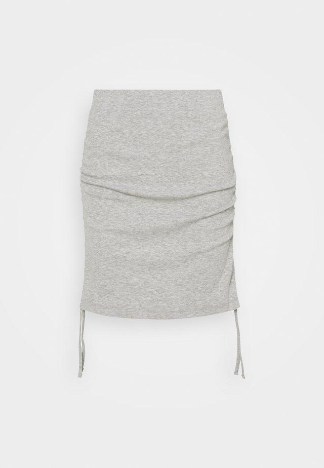NMSTINE ROUCHING SKIRT - Blyantnederdel / pencil skirts - light grey melange