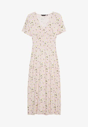 DAISY BUTTON THROUGH SLEEVE MIDI DRESS - Žerzejové šaty - pink