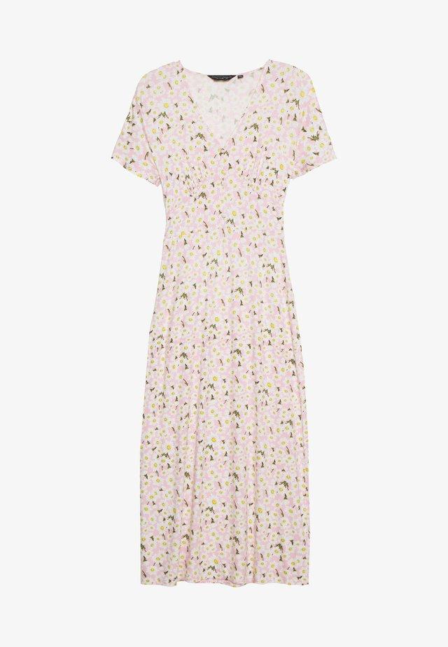 DAISY BUTTON THROUGH SLEEVE MIDI DRESS - Jerseyklänning - pink