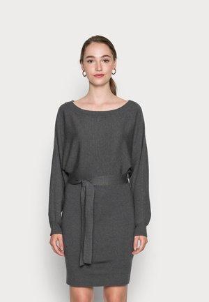 BELTED MINI DRESS  - Neulemekko - mottled dark grey
