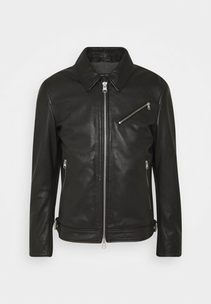 JACKET REGULAR FIT LINED LONGSLEEVE - Leather jacket - black