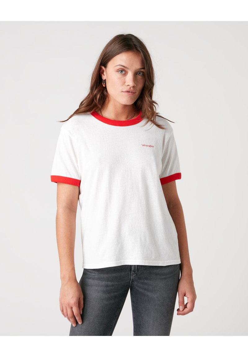 Wrangler - RELAXED RINGER - Print T-shirt - flame red