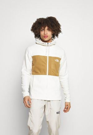 BLOCKED HOODIE - Fleece jacket - offwhite/brown