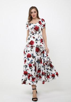 Maxi dress - weiß, weinrot