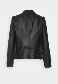 Wallis - VICTORIANA FRILL - Faux leather jacket - black - 1