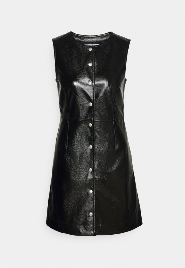 HIGH SHINE SHIFT DRESS - Day dress - black