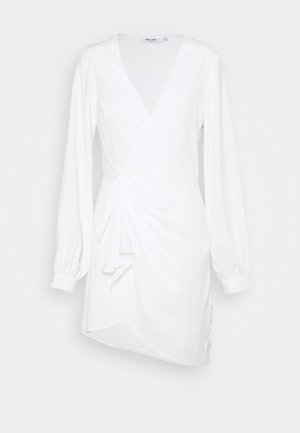 GATHERED OVERLAP DRESS - Cocktail dress / Party dress - white