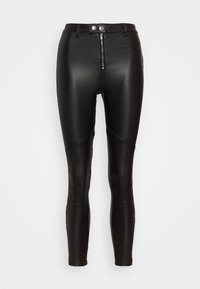 Missguided Petite - VICE DOUBLE POPPER COATED BIKER - Pantalones - black - 0