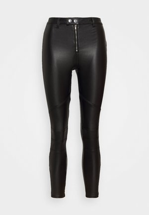 VICE DOUBLE POPPER COATED BIKER - Trousers - black
