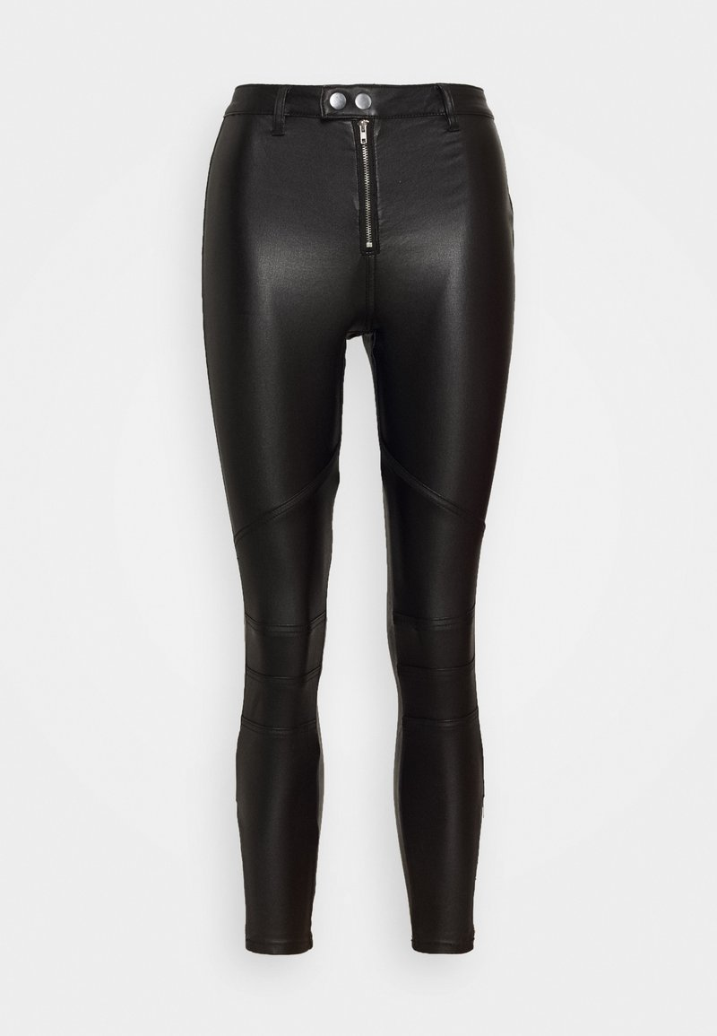 Missguided Petite - VICE DOUBLE POPPER COATED BIKER - Pantalones - black
