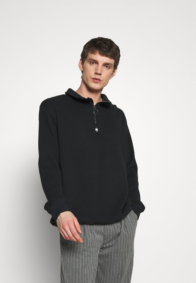 COOPER HALF ZIP CREW NECK - Collegepaita - black