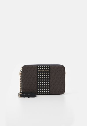 JET SETLG CROSSBODY MICROSTUDS - Skulderveske - brown/black