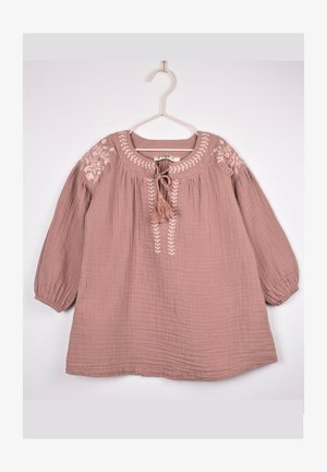 Embroidered Muslin Dress With Tassels (2 to 7 years) - Day dress - dried rose