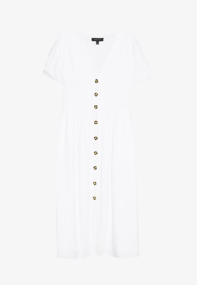 NECK BUTTONED MIDI DRESS - Blousejurk - white