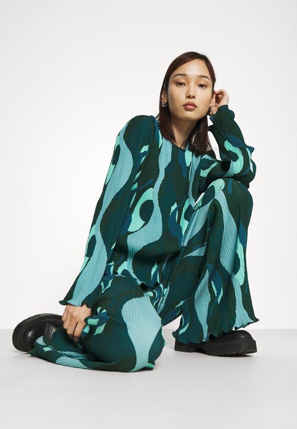 Never Fully Dressed SWIRL SMUDGE PLISSE - Bluzka z długim rękawem - teal/zielony ONGS
