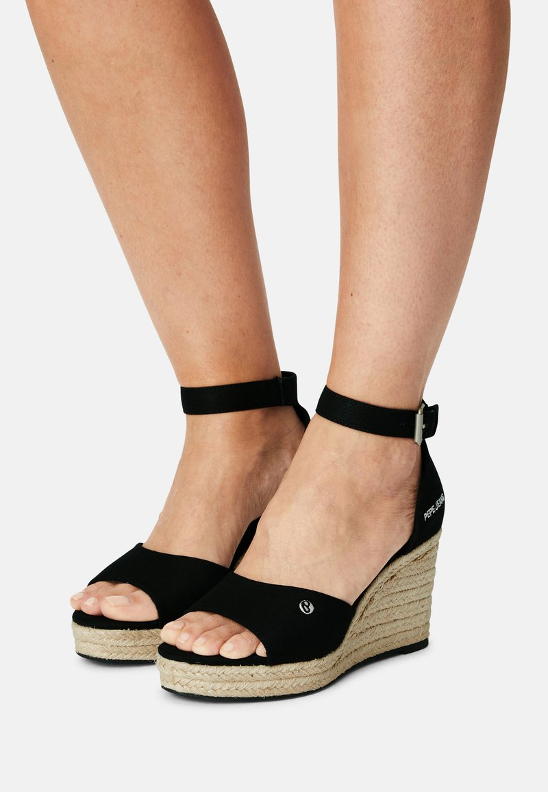 Pepe Jeans - MAIDA BASS - Platform sandals - black