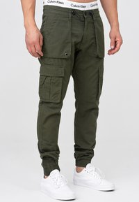 INDICODE JEANS - Cargo trousers - army - 4