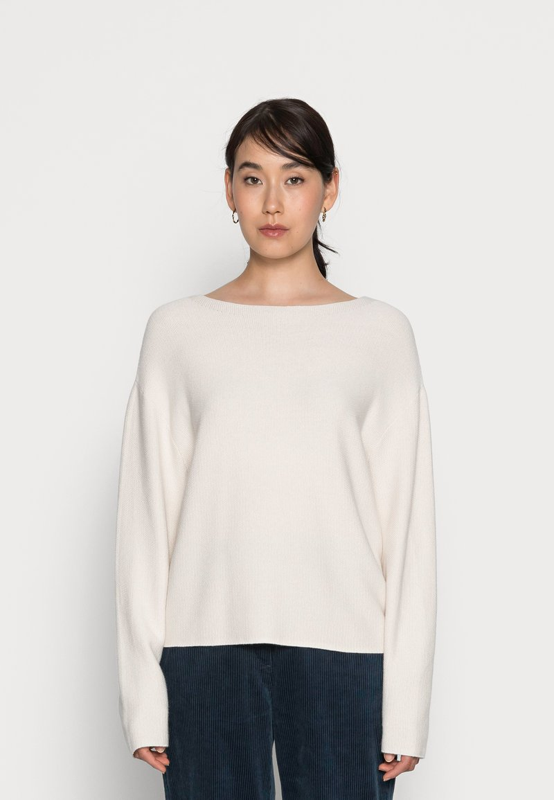 Marc O'Polo - LONGSLEEVE MODERN WIDE FIT RICE CORN STRUCTURE - Jumper - chalky sand