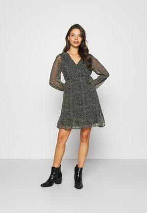 VMHIBISCUS WRAP TIE DRESS - Day dress - black/snow white