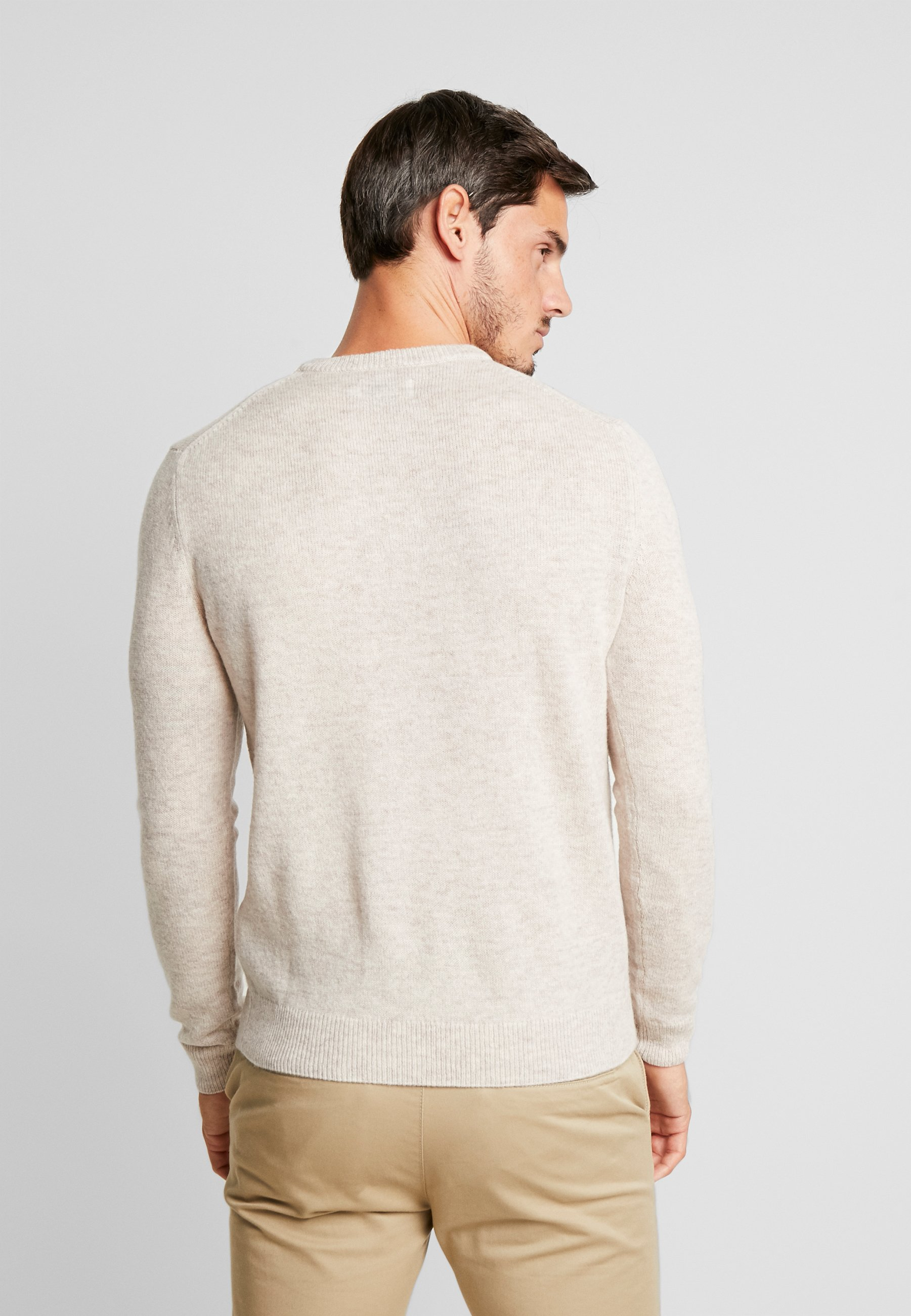 Farah The Rosecroft Crew Neck - Strikkegenser Light Brown/hvit