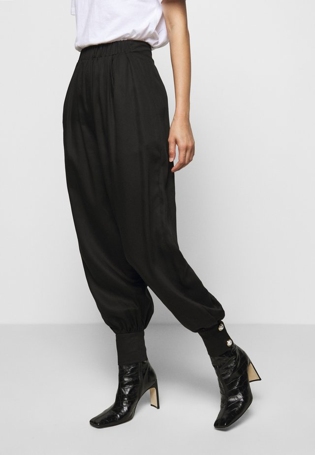 ELASTICATED TROUSER WITH CUFF HEM - Trousers - black
