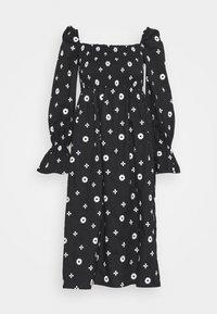 MONOCHROME CROSS EMBROIDERED - Korte jurk - black