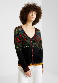 Ivko - PLEATED V-NECK CARDIGAN - Cardigan - black - 0