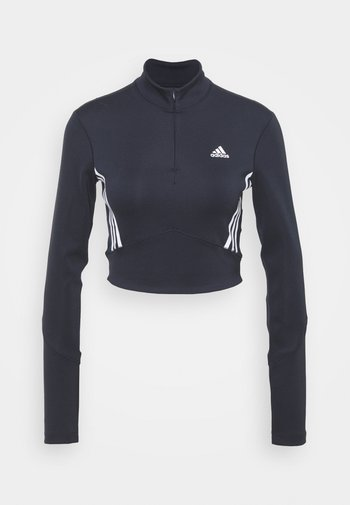 CROP LONGSLEEVE - Sports shirt - black/white
