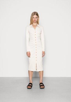 GATHERED FRONT SHIRT COLLAR MIDI DRESS - Jumper dress - off white