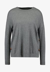 Vero Moda Petite - VMCHOU KARIS O NECK BUTTON - Strickpullover - medium grey melange - 4