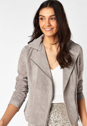 BROWN SUEDE BIKER JACKET - Leather jacket - grey