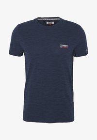 TEXTURE LOGO TEE - Print T-shirt - twilight navy