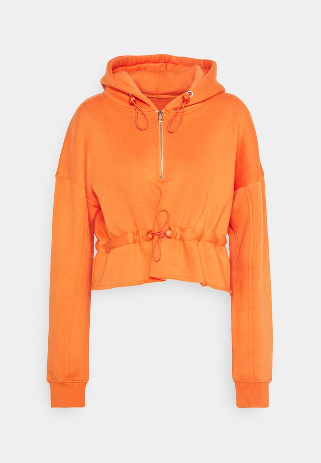RUCHED DETAIL HOODY - Bluza z kapturem - orange