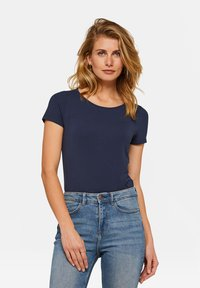 WE Fashion - WE FASHION DAMEN-T-SHIRT AUS BIO-BAUMWOLLE - Basic T-shirt - dark blue - 0