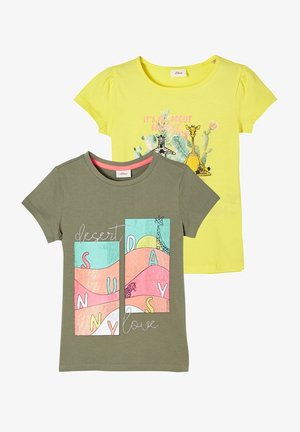 2ER PACK MIT PRINT - T-shirt print - olive/yellow