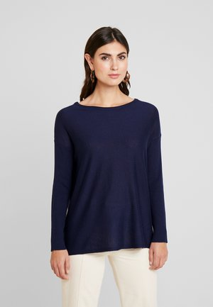 BASIC- RELAXED BOAT NECK JUMPER - Strikkegenser - dark blue