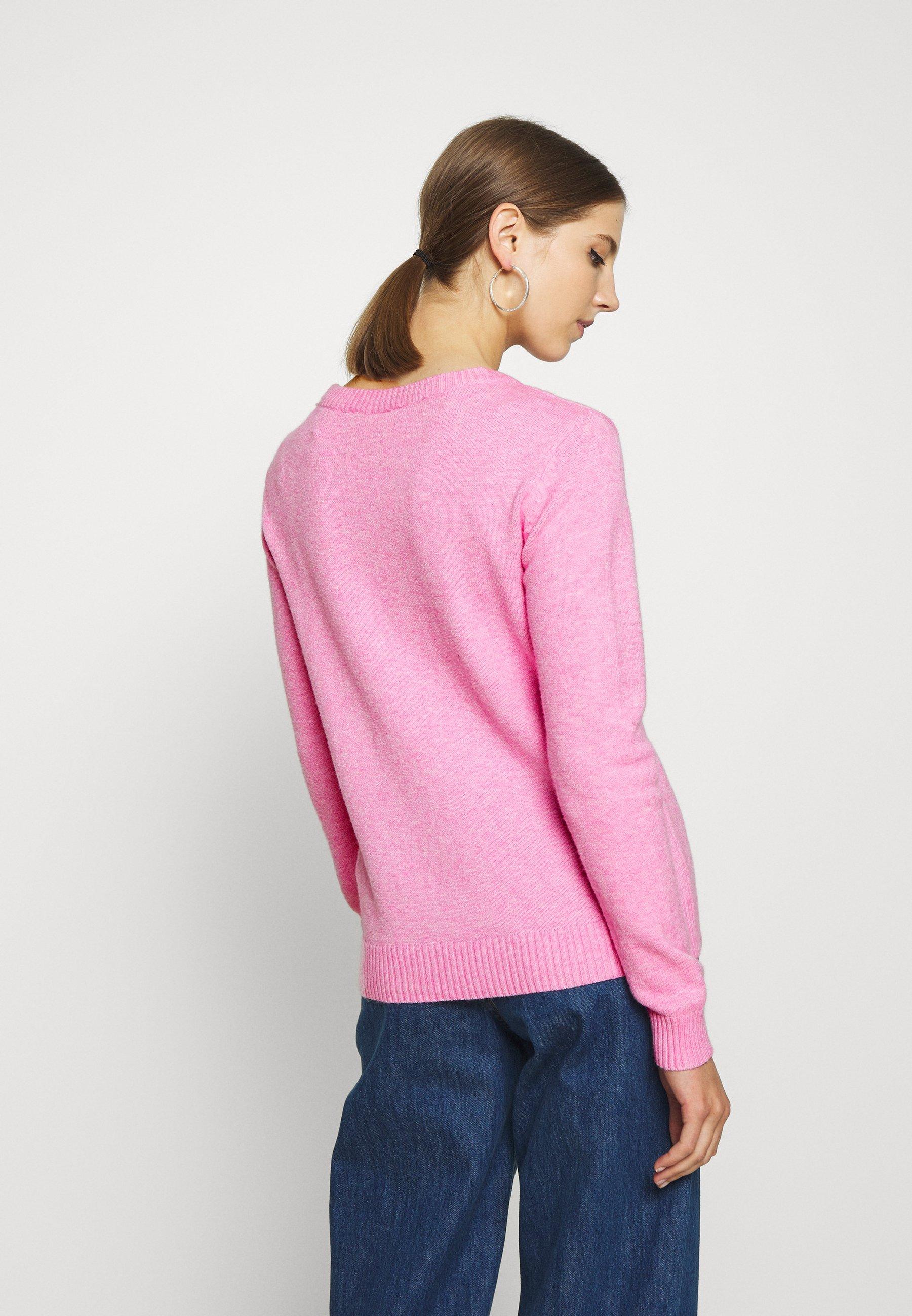 Vila VIRIL O-NECK - Jersey de punto - begonia pink/melange DrSSx